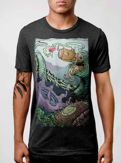 Space Sub - Multicolor on Heather Black Triblend Mens T Shirt