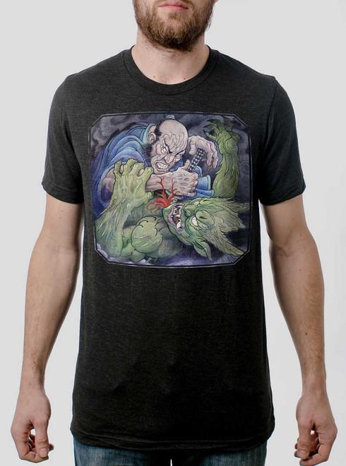 Samurai vs Demon - Multicolor on Heather Black Triblend Mens T Shirt