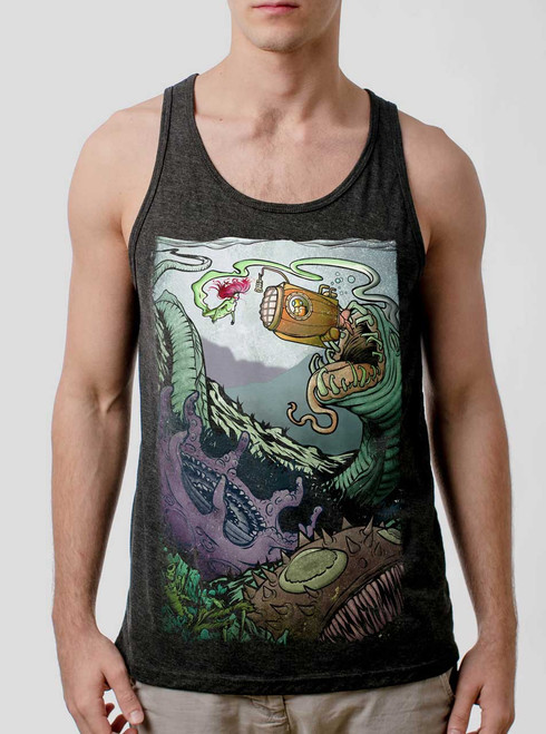Space Sub - Multicolor on Heather Black Triblend Mens Tank Top
