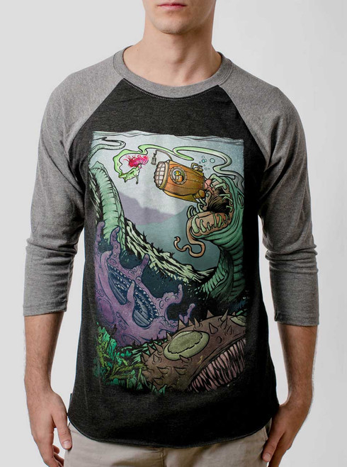 Space Sub - Multicolor on Heather Black and Grey Triblend Raglan