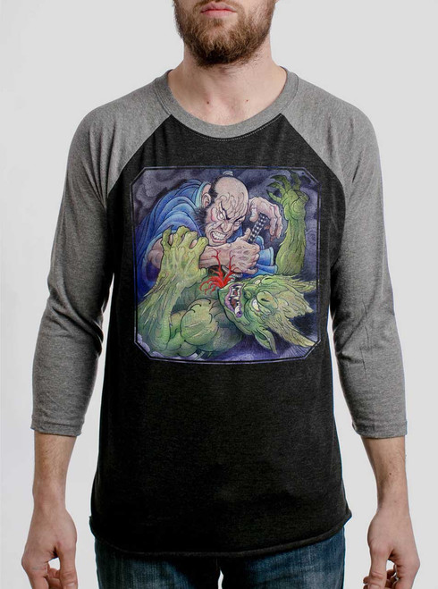 Samurai vs Demon - Multicolor on Heather Black and Grey Triblend Raglan