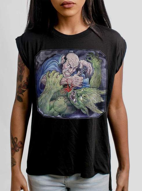 Samurai vs Demon - Multicolor on Black Women's Rolled Cuff T-Shirt