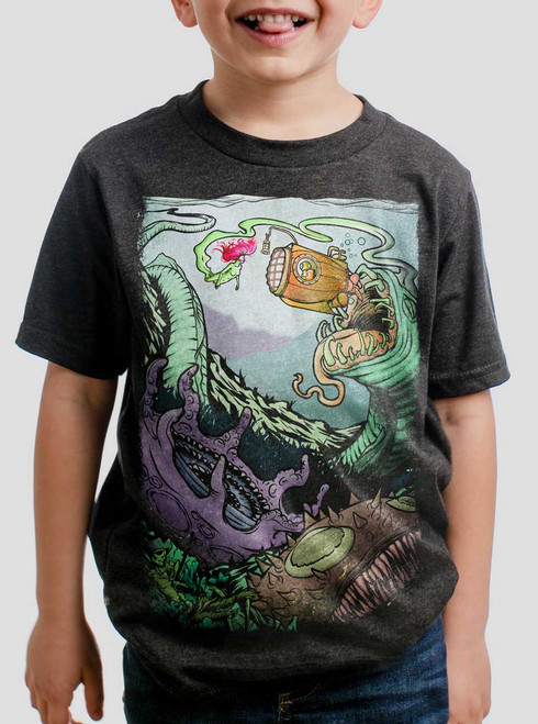 db27b2b0d359 Space Sub - Multicolor on Heather Black Triblend Youth T-Shirt