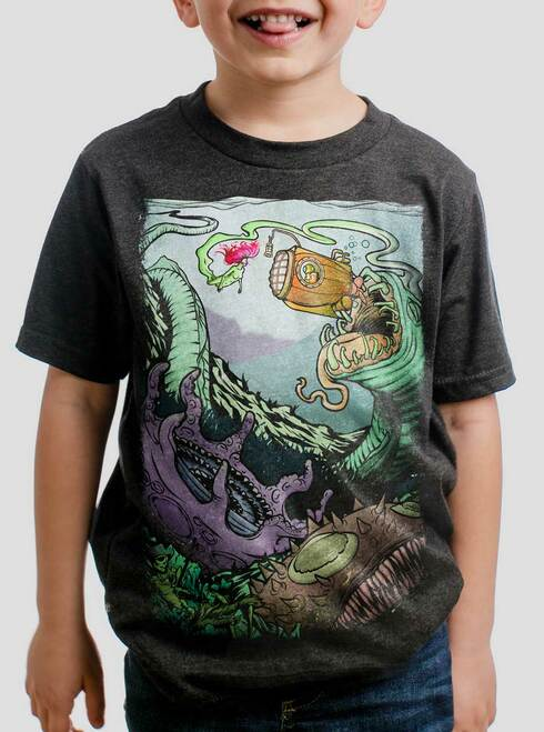 Space Sub  - Multicolor on Heather Black Triblend Youth T-Shirt