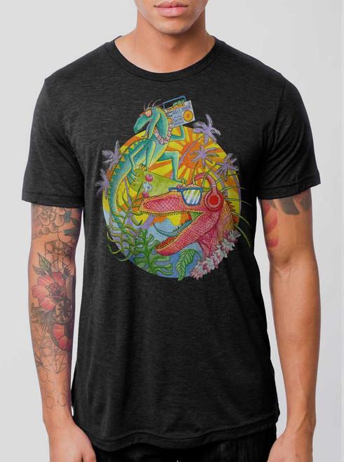 Rad Raptors - Multicolor on Heather Black Triblend Mens T Shirt