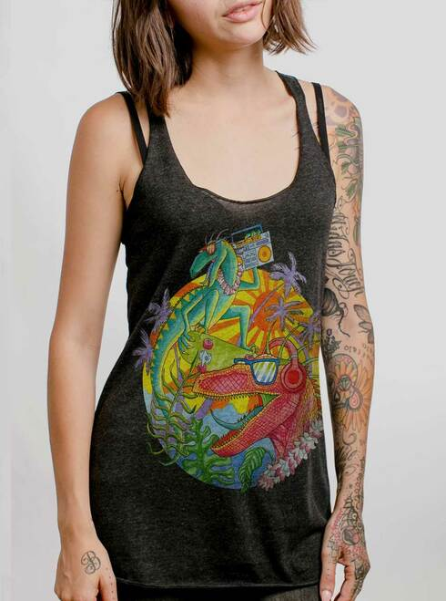 Rad Raptors - Multicolor on Heather Black Triblend Womens Racerback Tank Top
