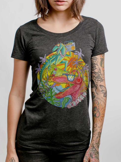 Rad Raptors  - Multicolor on Heather Black Triblend Womens T-Shirt