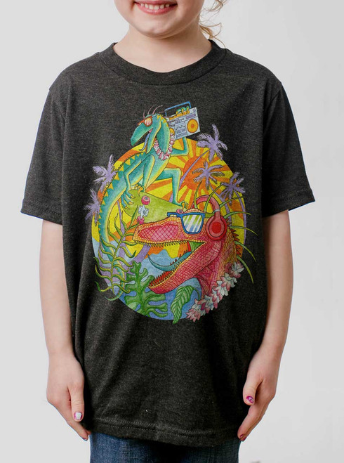 Rad Raptors  - Multicolor on Heather Black Triblend Youth T-Shirt