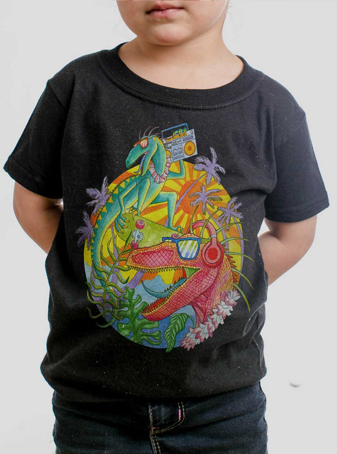 Rad Raptors - Multicolor on Black Toddler T-Shirt