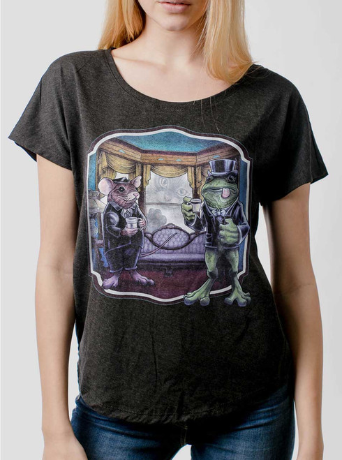 Mouse and Frog - Multicolor on Heather Black Triblend Womens Dolman T Shirt