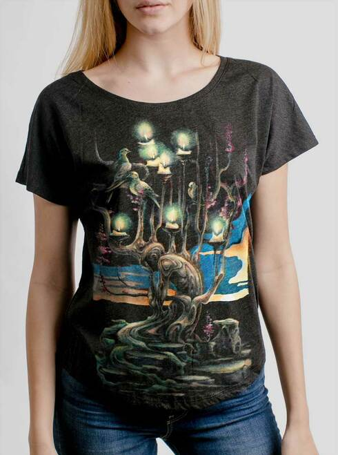Mourning - Multicolor on Heather Black Triblend Womens Dolman T Shirt