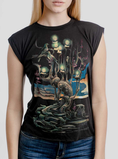 Mourning - Multicolor on Black Women's Rolled Cuff T-Shirt