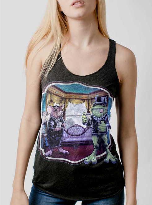 Mouse and Frog - Multicolor on Heather Black Triblend Womens Racerback Tank Top