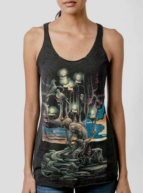 Mourning - Multicolor on Heather Black Triblend Womens Racerback Tank Top