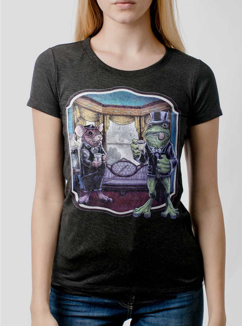 Mouse and Frog - Multicolor on Heather Black Triblend Womens T-Shirt