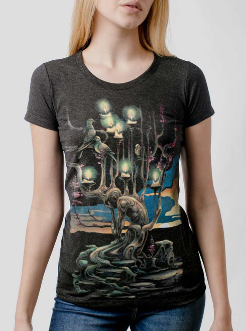 Mourning - Multicolor on Heather Black Triblend Womens T-Shirt