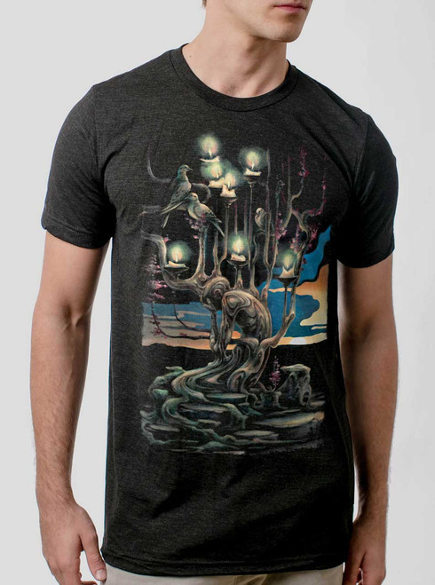 Mourning - Multicolor on Heather Black Triblend Mens T Shirt