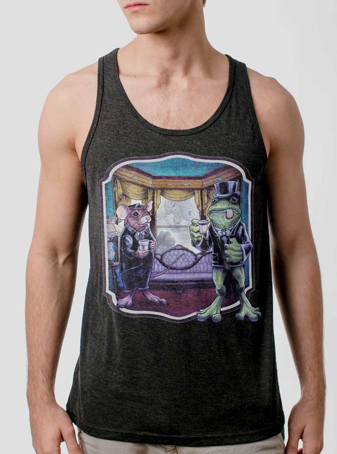 Mouse and Frog - Multicolor on Heather Black Triblend Mens Tank Top