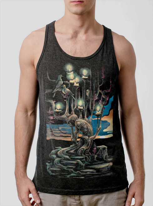 Mourning - Multicolor on Heather Black Triblend Mens Tank Top