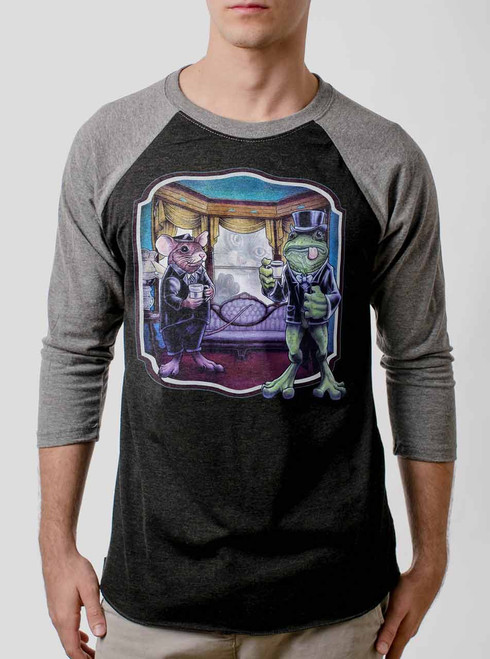 Mouse and Frog - Multicolor on Heather Black and Grey Triblend Raglan