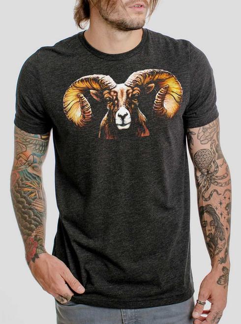 Ram's Head - Multicolor on Heather Black Triblend Mens T Shirt