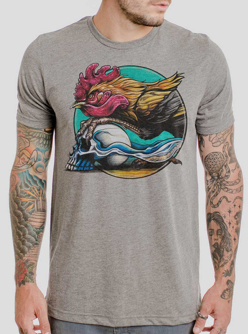 Rooster - Multicolor on Heather Grey Triblend Mens T Shirt