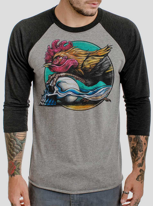 Rooster - Multicolor on Heather Grey and Black Triblend Raglan