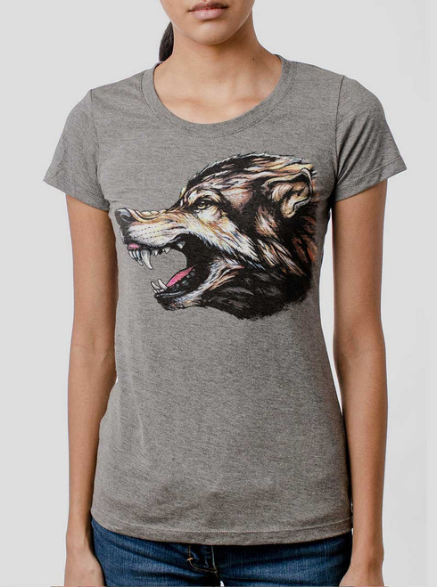 Wolf's Head - Multicolor on Heather Grey Triblend Womens T-Shirt