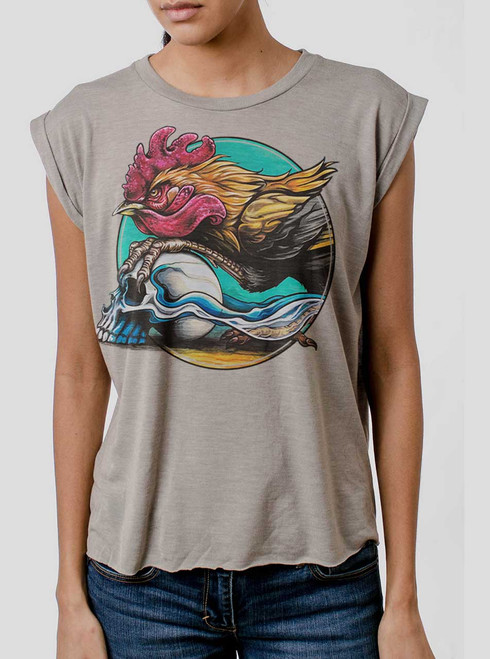 Rooster - Multicolor on Heather Stone Women's Rolled Cuff T-Shirt
