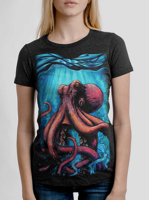 Octo - Multicolor on Heather Black Triblend Womens T-Shirt