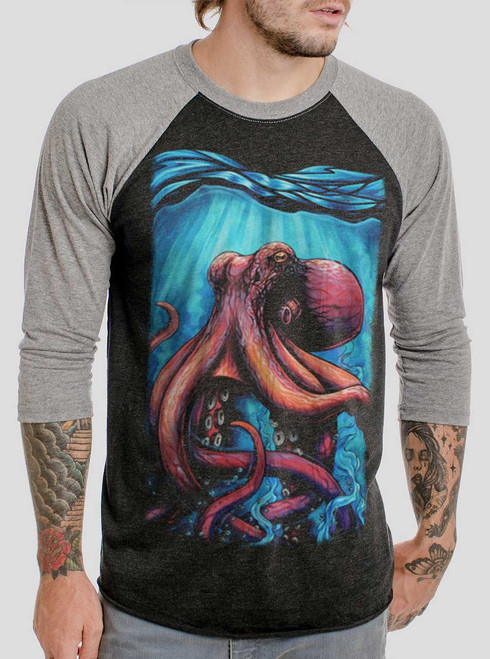 Octo - Multicolor on Heather Black and Grey Triblend Raglan