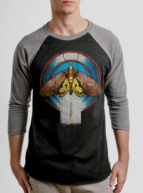 Moth - Multicolor on Heather Black and Grey Triblend Raglan