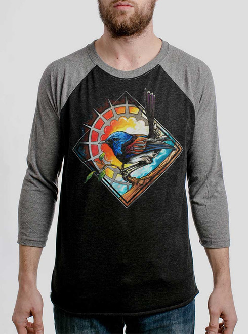 Blue Bird - Multicolor on Heather Black and Grey Triblend Raglan