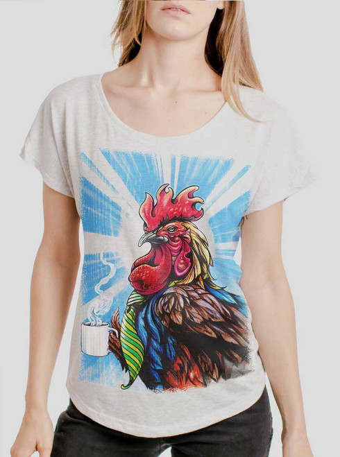 Early Bird - Multicolor on Heather White Triblend Womens Dolman T Shirt