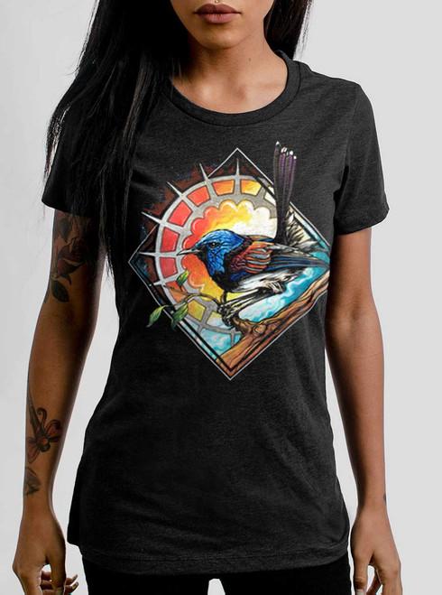 Blue Bird - Multicolor on Heather Black Triblend Womens T-Shirt