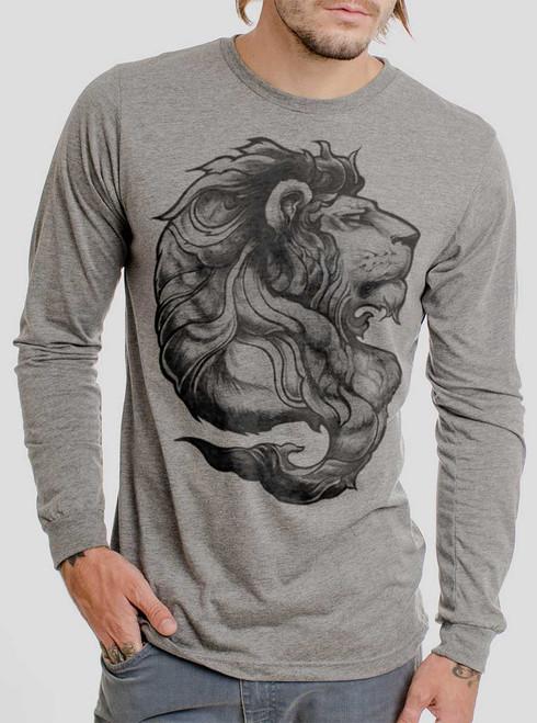 Lion - Multicolor on Heather Grey Triblend Men's Long Sleeve