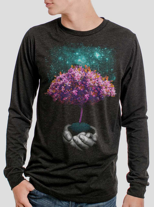 Creation - Multicolor on Heather Black Triblend Men's Long Sleeve