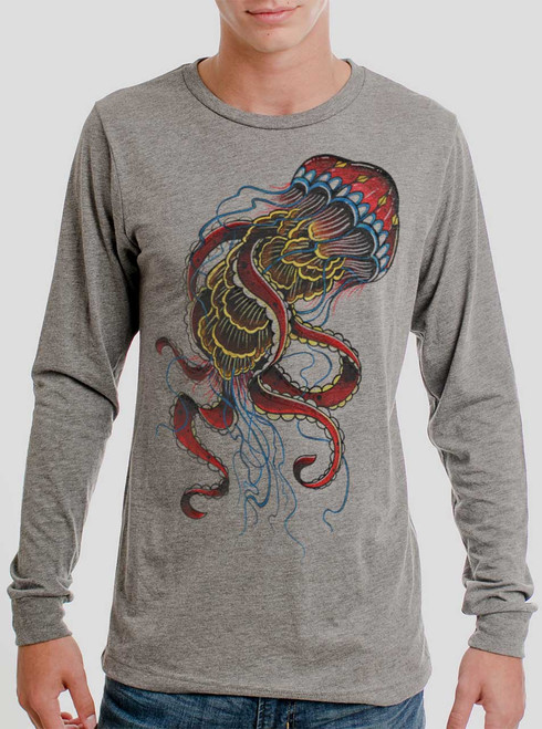 Jelly - Multicolor on Heather Grey Triblend Men's Long Sleeve