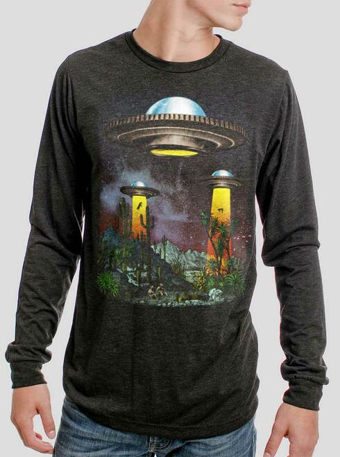 UFOs - Multicolor on Heather Black Triblend Men's Long Sleeve