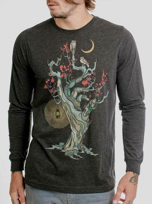Night Owls - Multicolor on Heather Black Triblend Men's Long Sleeve