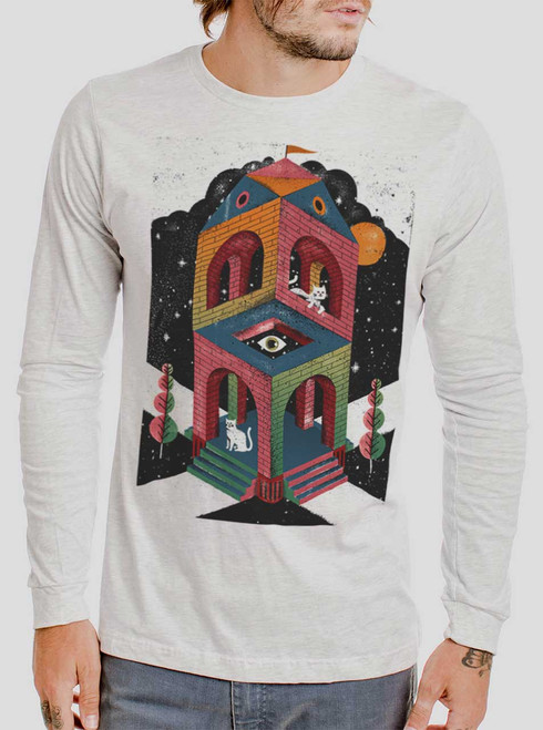 Space Cathedral - Multicolor on Heather White Men's Long Sleeve