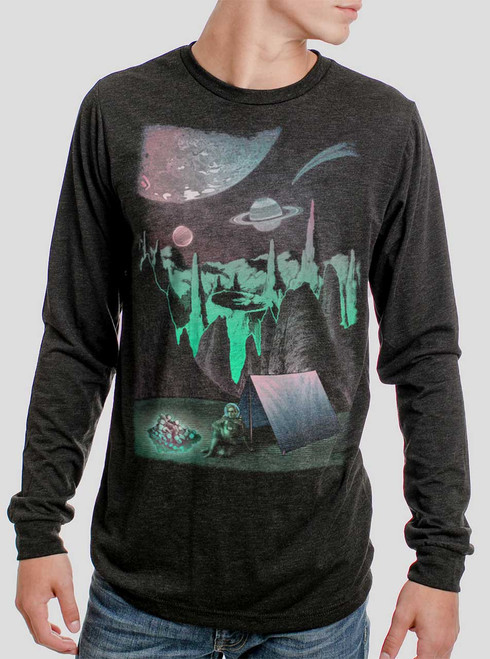 Space Camp - Multicolor on Heather Black Triblend Men's Long Sleeve