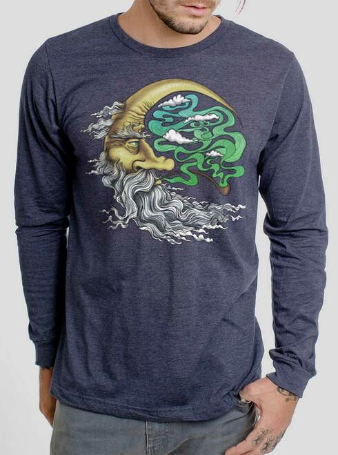 Man in the Moon - Multicolor on Heather Navy Men's Long Sleeve