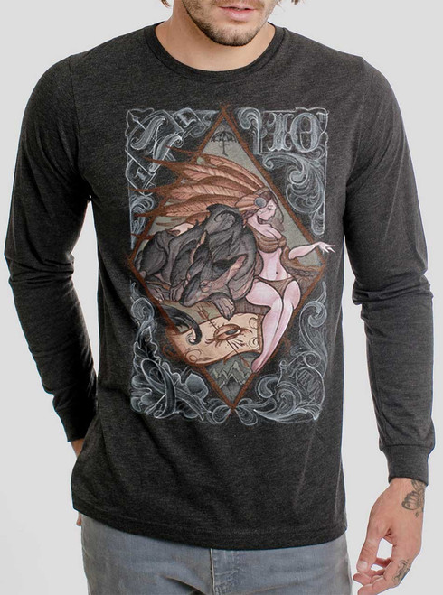 Lady and the Wolf - Multicolor on Heather Black Triblend Men's Long Sleeve
