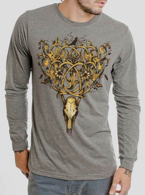Deer Skull - Multicolor on Heather Grey Triblend Men's Long Sleeve