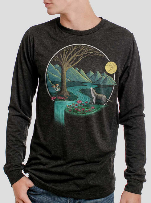 Spirit Animal - Multicolor on Heather Black Triblend Men's Long Sleeve