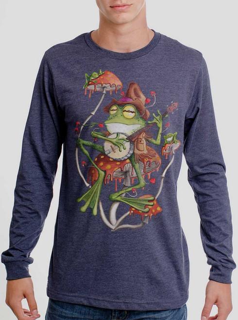 Folk Frog - Multicolor on Heather Navy Men's Long Sleeve