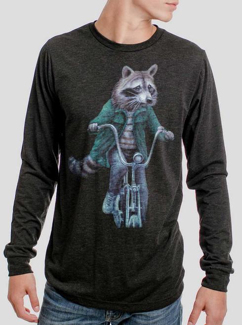 Raccoon - Multicolor on Heather Black Triblend Men's Long Sleeve