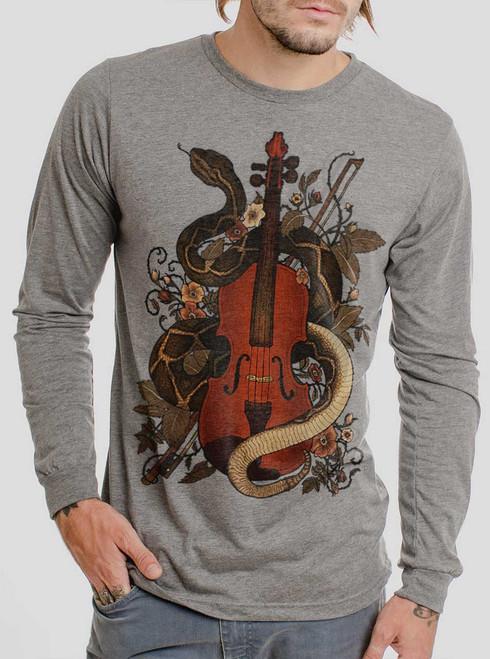 Rattlesnake Violin - Multicolor on Heather Grey Triblend Men's Long Sleeve