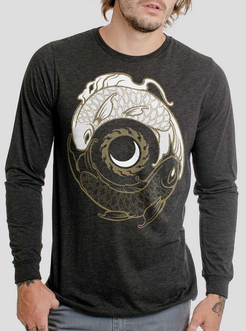 Koi Balance - Multicolor on Heather Black Triblend Men's Long Sleeve